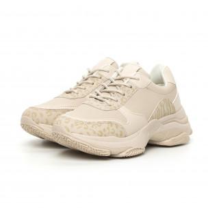 Pantofi sport de dama bej cu talpă voluminoasă 2