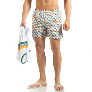 Șort de baie alb pentru bărbați motiv Car