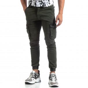Pantaloni cargo verzi de bărbați cu manșete elastice 2