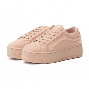 Teniși All pink pentru dama cu platforma 2
