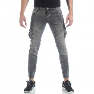 Cargo Jeans gri pentru bărbați 2