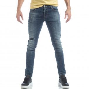 Washed Jeans de bărbați albaștri cu rupturi