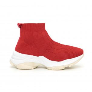 Pantofi sport de dama Slip-on din țesătură roșie