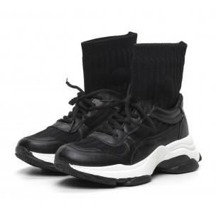 Pantofi sport de dama negri tip șosetă cu talpă groasă 2