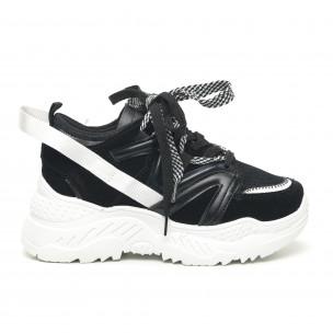 Pantofi sport de dama negri design Chunky