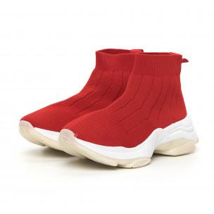 Pantofi sport de dama Slip-on din țesătură roșie 2