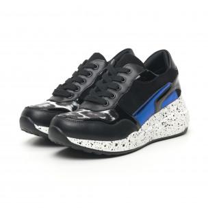 Pantofi sport de dama negri cu părți lăcuite și albastre 2