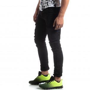 Pantaloni cargo negri drepți pentru bărbați Y-Chromosome