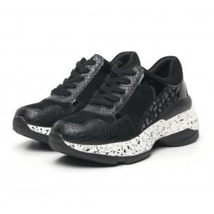 Pantofi sport de dama negri combinați 2