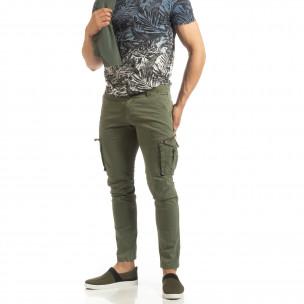Pantaloni cargo verzi drepți pentru bărbați