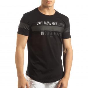 Tricou pentru bărbați negru cu inscripții