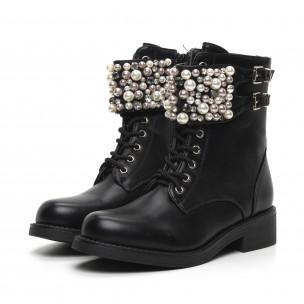 Botine de dama negre cu perle și pietre 2