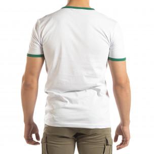 Tricou pentru bărbați alb cu dungi colorate  2