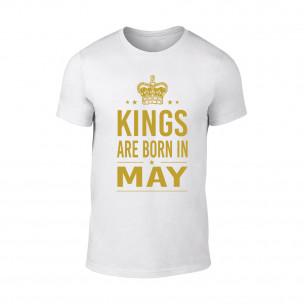 Tricou pentru barbati Kings Are Born In May alb, mărimea XL