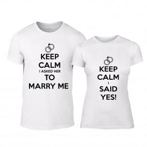 Tricouri pentru cupluri Keep Calm alb TEEMAN