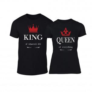Tricouri pentru cupluri King Queen negru