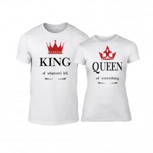 Tricouri pentru cupluri King Queen alb TEEMAN