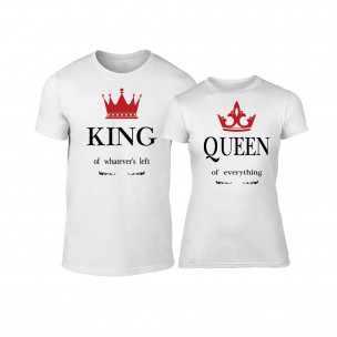 Tricouri pentru cupluri King Queen alb 2