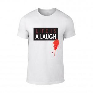Tricou pentru barbati Laugh alb TEEMAN