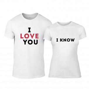 Tricouri pentru cupluri Love alb