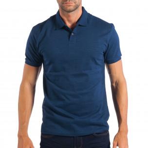 Tricou cu guler bărbați RESERVED albastru