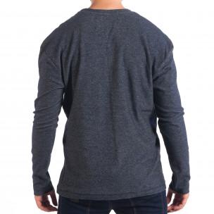 Bluză pentru bărbați RESERVED în melanj albastru cu buzunar  2