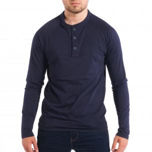 Bluză albastră pentru bărbați RESERVED cu nasturi
