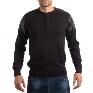 Pulover negru pentru bărbați House cu părți din piele