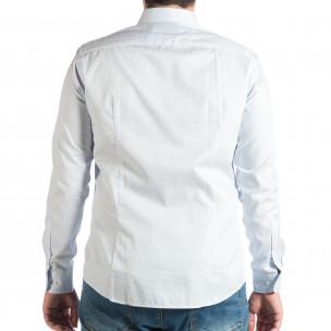 Cămașă cu mânecă lungă bărbați albastră 2