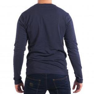 Bluză pentru bărbați RESERVED albastră cu buzunar  2