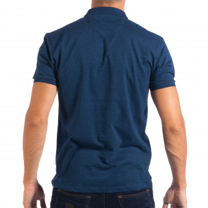 Tricou cu guler bărbați RESERVED albastru  2