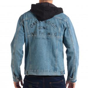 Jachetă cu glugă pentru bărbați RESERVED în albastru deschis 2
