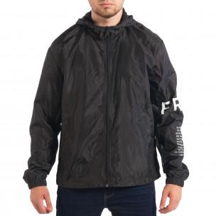Jachetă neagră de primăvară-toamnă pentru bărbați RESERVED