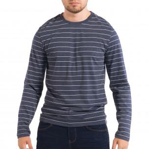 Bluză albastră în dungi pentru bărbați RESERVED