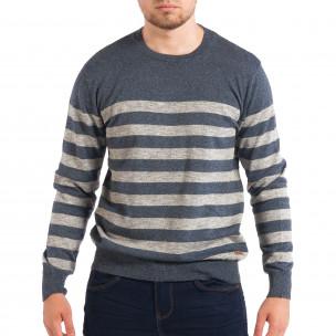 Pulover albastru pentru bărbați în dungi largi