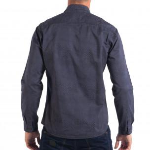 Cămașă de bărbați Regular RESERVED în albastru cu desen mic  2