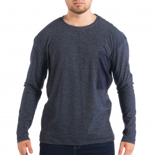 Bluză pentru bărbați RESERVED în melanj albastru cu buzunar