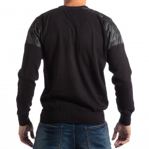 Pulover negru pentru bărbați House cu părți din piele 2