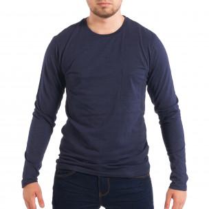Bluză pentru bărbați RESERVED albastră cu buzunar