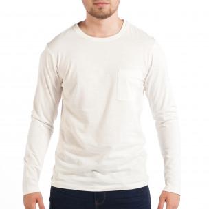 Bluză pentru bărbați RESERVED albă cu buzunar