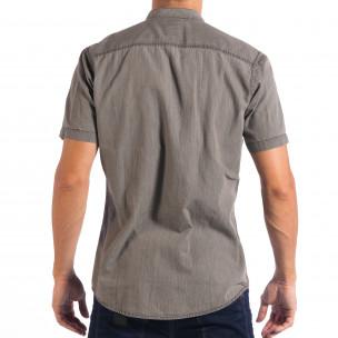 Cămașă gri de bărbați Regular fit RESERVED cu mânecă scurtă  2