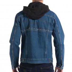 Jachetă cu glugă pentru bărbați RESERVED în albastru închis   2