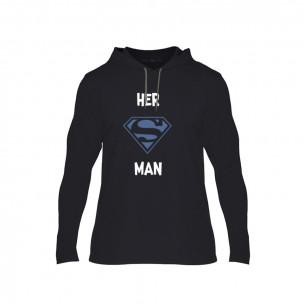 Tricou pentru barbati Superman Supergirl negru, Mărime XL