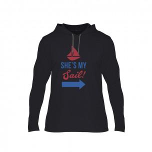 Tricou pentru barbati Sail Anchor negru, Mărime S