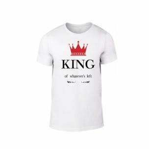 Tricou pentru barbati King Queen alb, mărimea L