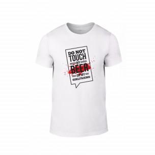 Tricou pentru barbati Don't touch me! alb, mărimea L