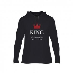 Tricou pentru barbati King Queen negru, Mărime XL
