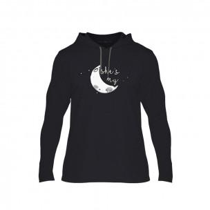 Hanorac pentru barbati The Moon Couple negru, Mărime XL