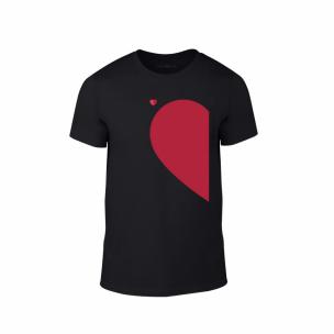 Tricou pentru barbati Half Heart negru, mărimea M