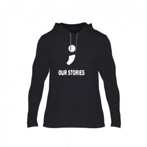 Hanorac pentru barbati Our Stories negru, Mărime M
